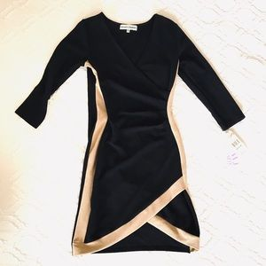 NWT Almost Famous Long Sleeve Angled Wrap Dress